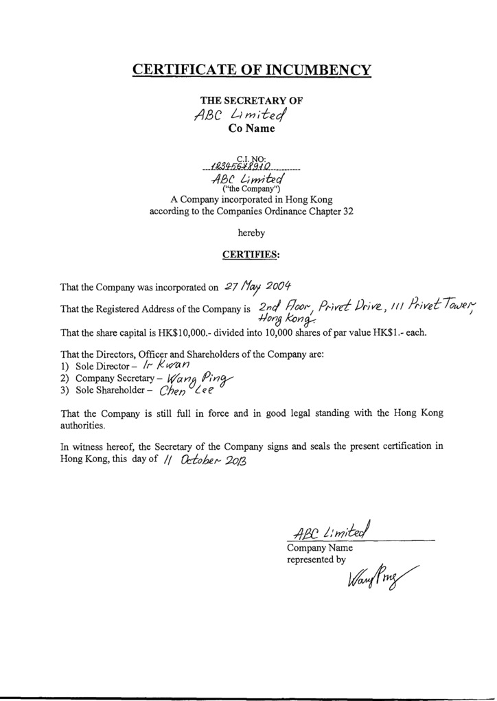 certificate of incumbency template free - hong kong offshore zones offshore and international