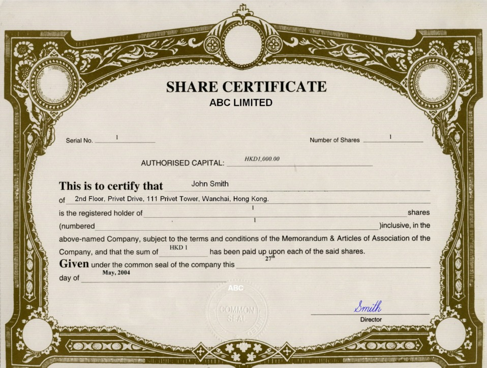 Hong Kong Offshore zones Offshore and International Law – Shareholder Certificate Template