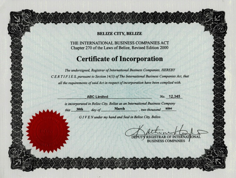 Belize offshore zones offshore and international law gsl certificate of incorporation yadclub Image collections