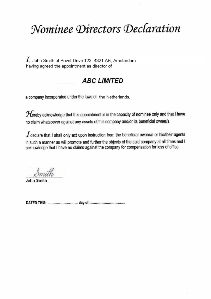 nominee directors declaration