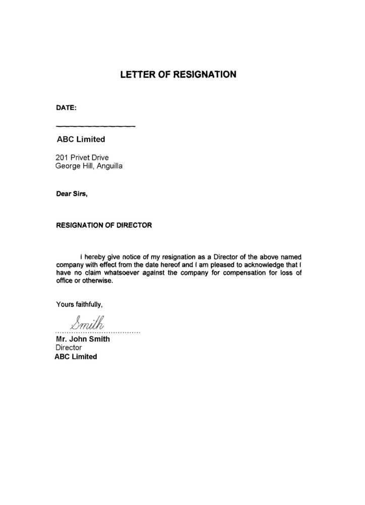 Example Of Resignation Letter 24 Hours Resume Layout 2017 – Secretary Resignation Letter