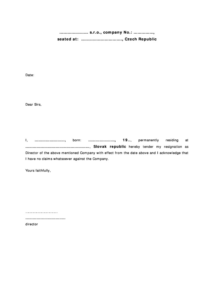 director resignation letter sample pdf australia