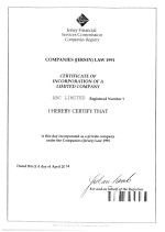 Jersey_Certificate of Incorporation Page: 1