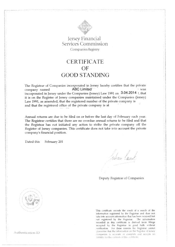 Nj Good Standing Certificate Certificate Of Good Standing Pa