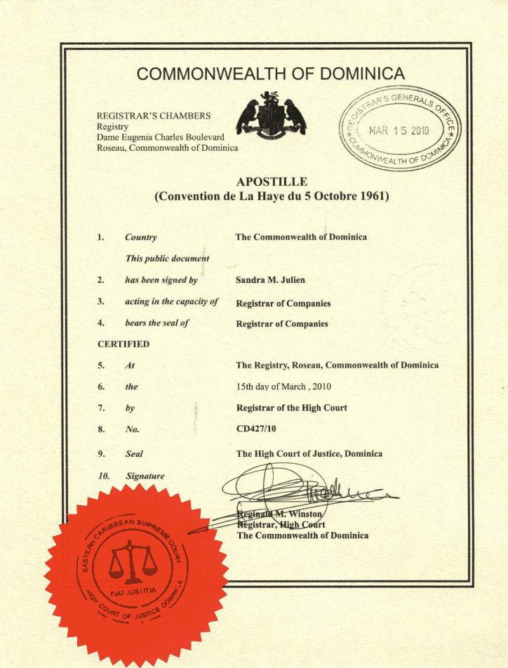 Dominica_Apostilled-Certificate-of-Incorporation Page 2 Shot