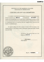 Marshall Islands_Certificate of Tax Exemption_with apostille Page 1 Shot