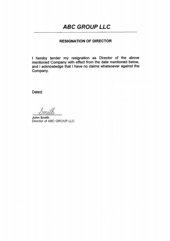 Usa Director Resignation Letter Page 1 Shot