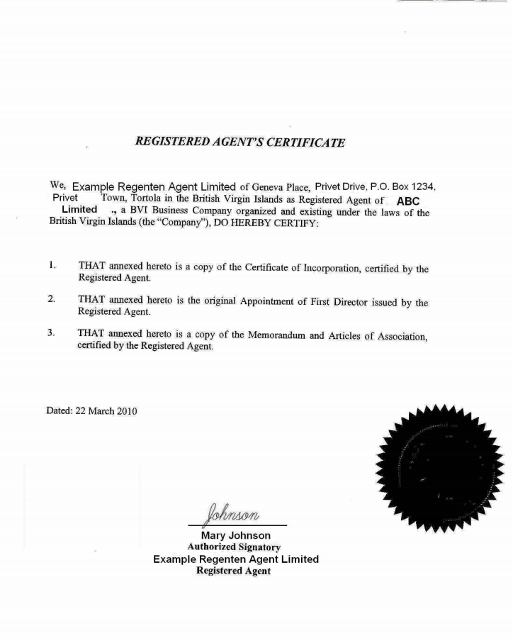 apostille of the bound set of copies of constitutive documents