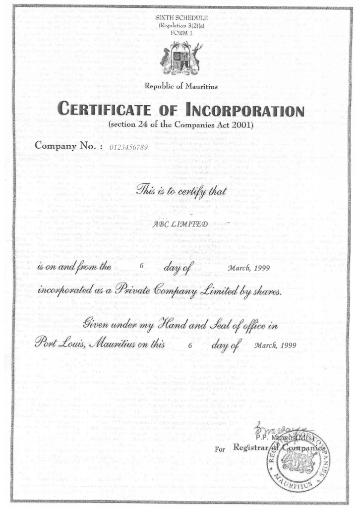 how to get company registration certificate
