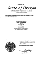 Oregon_Certificate-of-the-Secretary-of-State Page 1 Shot