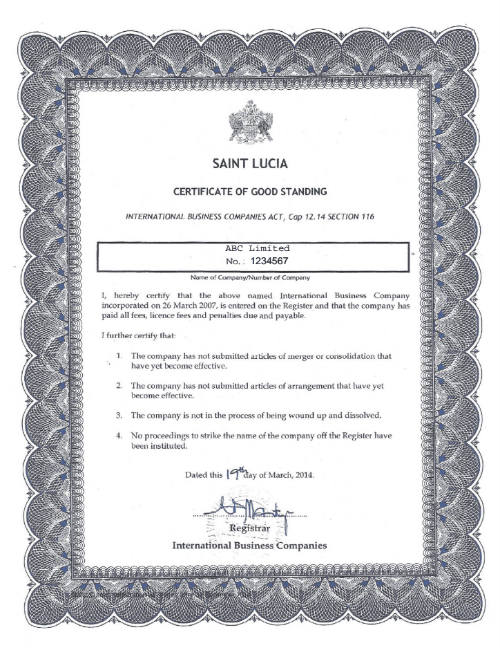 st.-lucia_certificate-of-good-standing_pdf_page1_shot Good Conduct Letter Template on recommendation work, seeking renewal certificate, recommendation for, departmental head templates, recommendation for reinstatement, attestation sample for, republic china, mm2h sample,