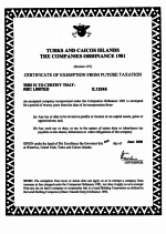 Turks-Caicos_Certificate-of-Exemption-from-Future-Taxation Page 1 Shot
