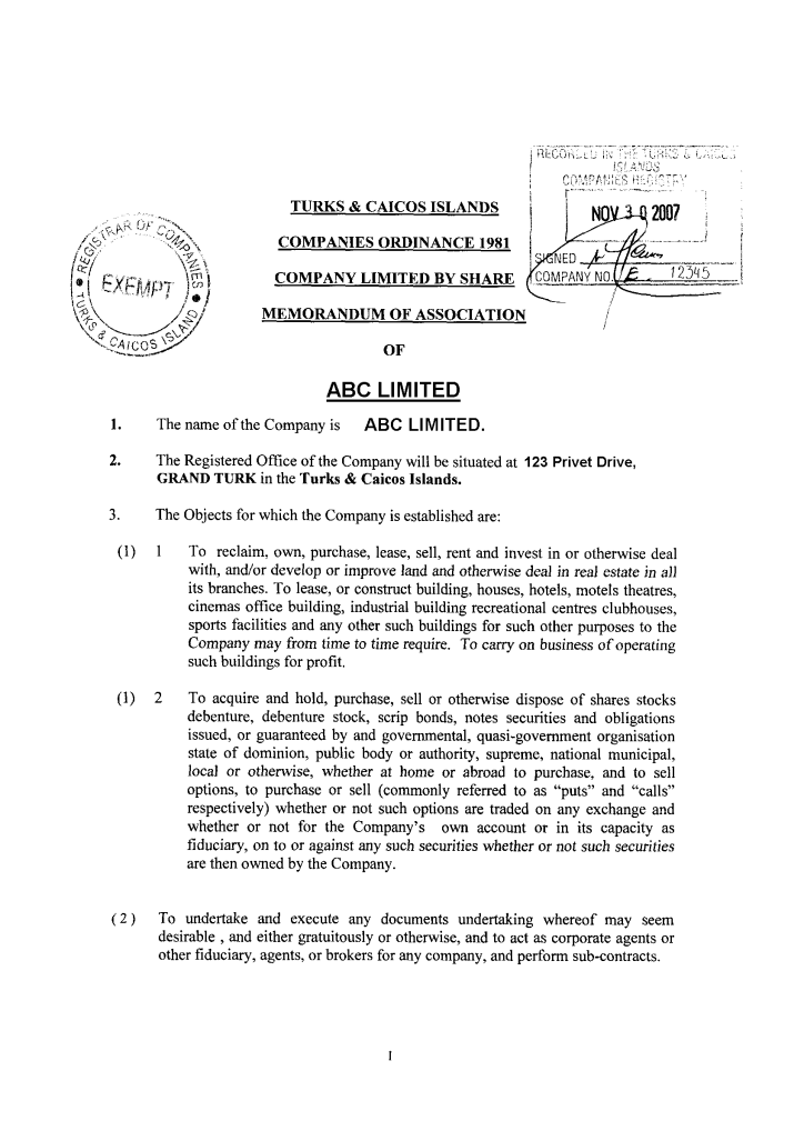 memorandum of association of a company pdf