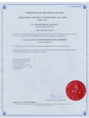 BVI Class III Trust Licence
