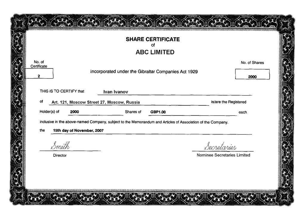 for Share certificate template companies house
