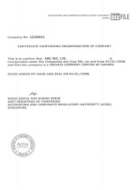 Certificate of Incorporation Page: 1