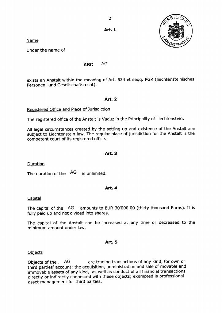 Лихтенштейн компании в Лихтенштейне стоимость корпоративные  Устав articles of association