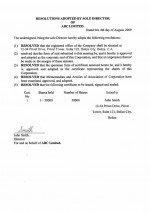 Belize_Resolution of first shares allotment.pdf Page: 1