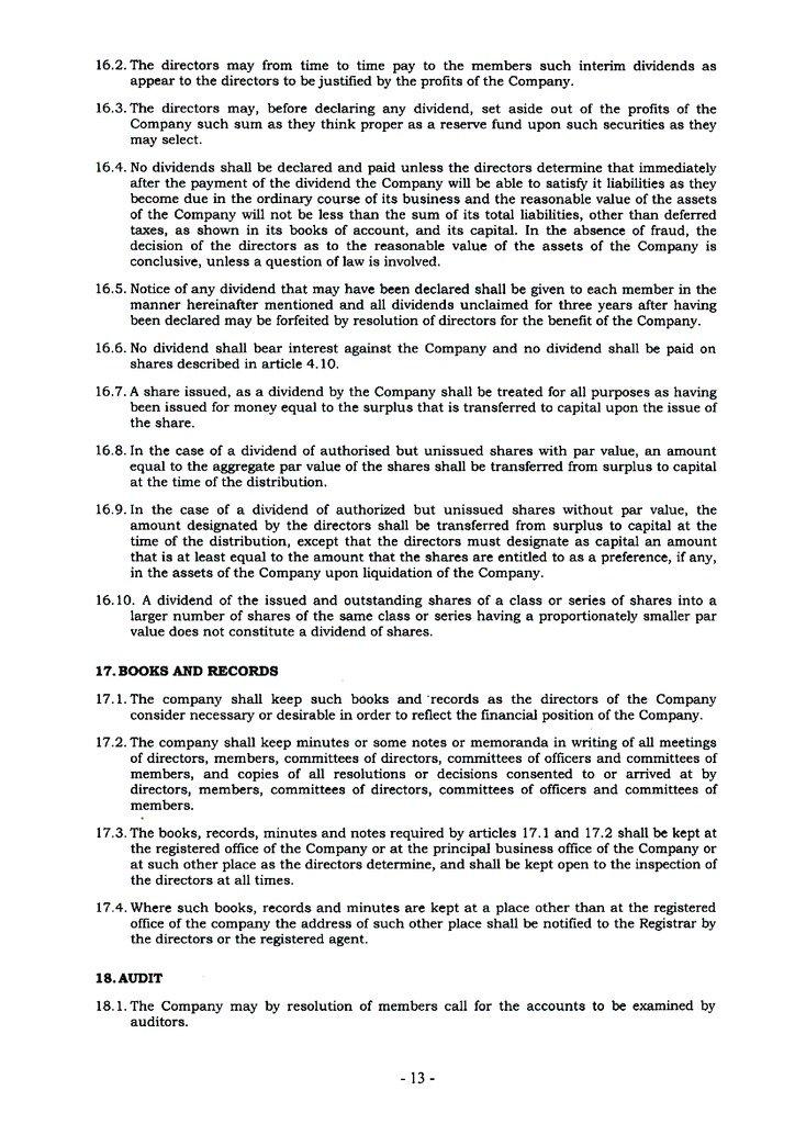 memorandum and articles of association pdf