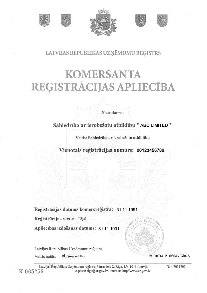 Латвия Оффшорные офшорные зоны Оффшоры и международное право  Регистрационное удостоверение