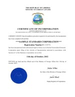 Liberia_Certificate of Incorporation Page: 1