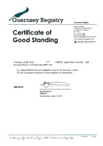Guernsey_Certificate of Good Standing Page: 1