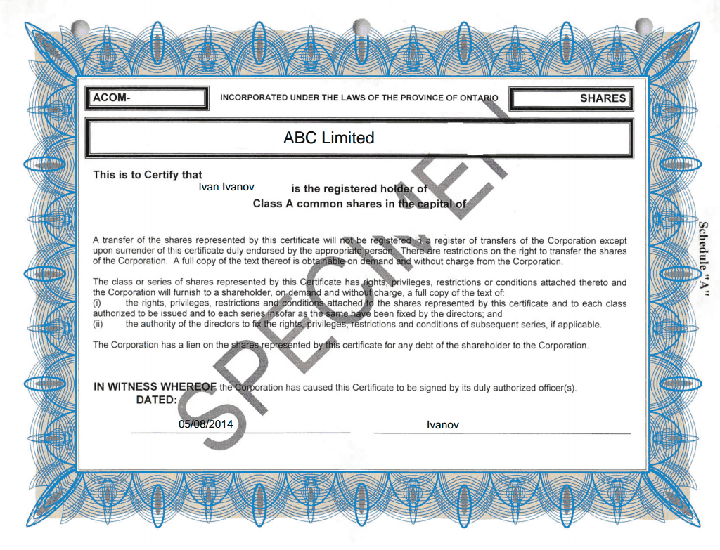 shareholding certificate template - epc